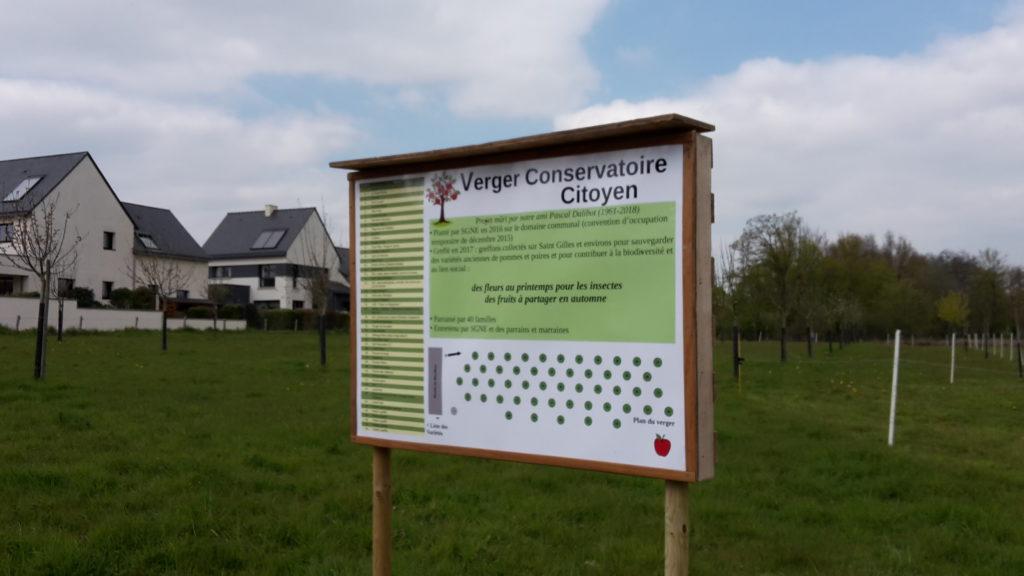 Pancarte installée au verger conservatoire